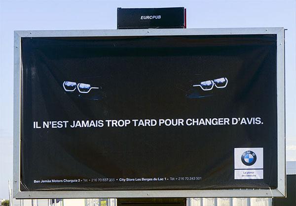 Les clins d'oeils de BMW et AUDI Tunisie en Affichage Urbain